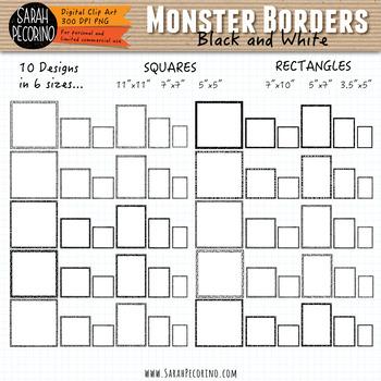 Monsters Borders/Frames Clip Art
