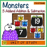 Monsters Build 3 Addend Addition & Subtraction Number Sentences