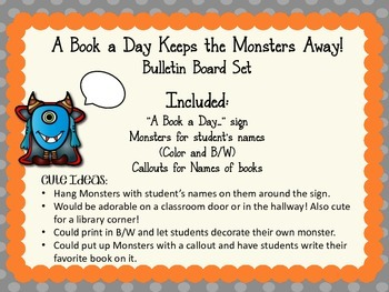 Monsters Bulletin Board Set. Reading. Library.  A Book a Day...