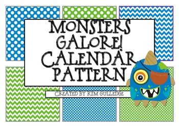 Monsters Calendar Pattern - Great for Algebraic Thinking!