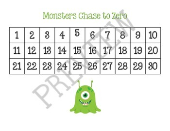 Monsters Chase to Zero (subtraction game)