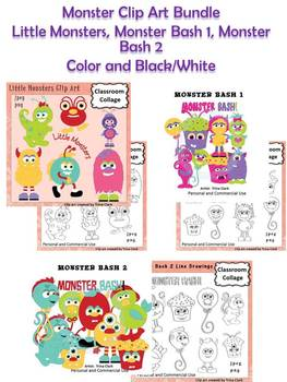 Monsters Clip Art Bundle includes color & BW Little Monsters, Monster Bash 1 & 2