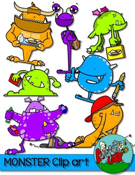 Monsters Clip art - Neon Colors