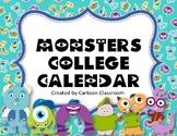 Monsters College Calendar 2