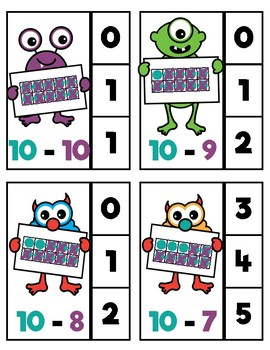Monsters Colour-Coded Subtraction