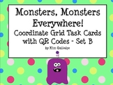 Monsters! Coordinate Plane Task Cards with QR Code Fun-  Set B