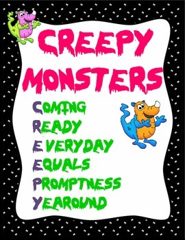 Monsters Creeping Up with Attendance:  Editable Attendance Kit