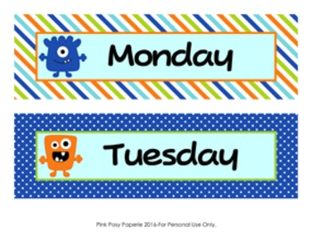 Monsters Days of the Week Calendar Headers
