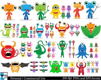 Monsters Digital Clip Art Graphics 167 images cod55