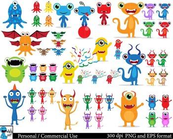 Monsters Digital Clip Art Graphics 167 images cod55
