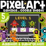 Monsters Digital Pixel Art Magic Reveal ADDITION & SUBTRACTION