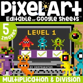 Monsters Digital Pixel Art Magic Reveal MULTIPLICATION