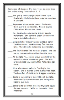 Monsters Don't Scuba Dive (The Bailey School Kids) Novel Study / Comprehension
