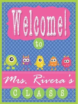 "Monsters - EDITABLE Welcome Poster - 18"" x 24"""