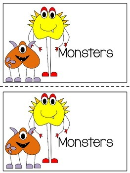 Monsters Emergent Reader - Colour and Black & White Versions Included