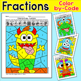 Monsters Color by Fractions Differentiated Math Centers