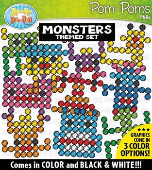 Monsters Fuzzy Pom-Poms Clipart {Zip-A-Dee-Doo-Dah Designs}