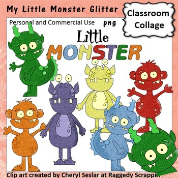 Monsters Glitter Clip Art personal & commercial use C Seslar