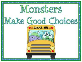 Monsters Go to School Themed Behavior Clip Chart