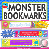 Monsters Growth Mindset Bookmarks, Shelf Markers or Desk Name Plates - EDITABLE