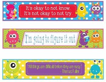 Monsters Growth Mindset Bookmarks, Shelf Markers or Desk Name Plates - EDITABLE