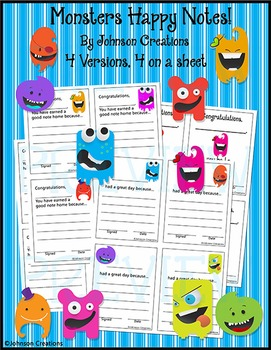 Monsters Happy Notes