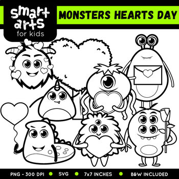 Monsters Hearts Day Clip Art