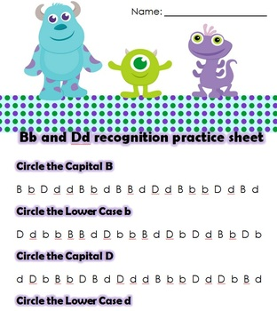 Monsters Inc. B and D Practice