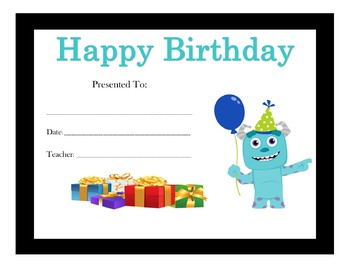 Monsters Inc Birthday Certificates (6 Certificates)