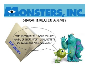 Monsters Inc. Literary Characterization Activity