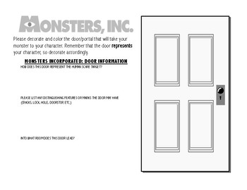 Monsters Inc. Literary Characterization Activity