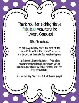 Monsters Inc Classroom Reward Coupons