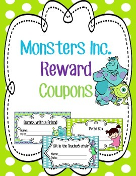Monsters Inc Classroom Reward Coupons