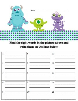 Monsters Inc. Sight Word Practice
