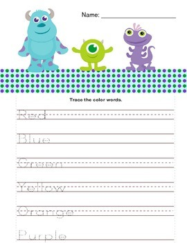 Monsters Inc. Trace Color Words