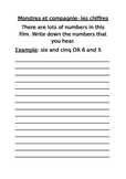 Monsters, Inc/Monstres et compagnie- numbers worksheet and
