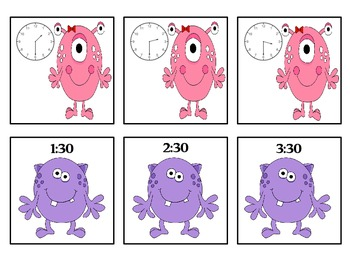 Monsters Learn To Tell Time! - Center Game - Time to the Hour and Half Hour