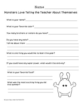 Monsters Love School: A Back to School Literature Unit