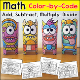 Color by Number Monster Math: Addition, Subtraction, Multi