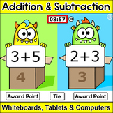 Monsters Addition and Subtraction Game: Team Challenge Activity for Smart Boards