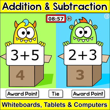 Addition and Subtraction Monsters Math SmartBoard Game