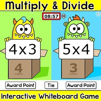 Multiplication and Division Team Challenge Smartboard Math Game