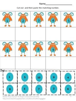 Monsters Bundle Cut and Paste Worksheets Special Education Kindergarten