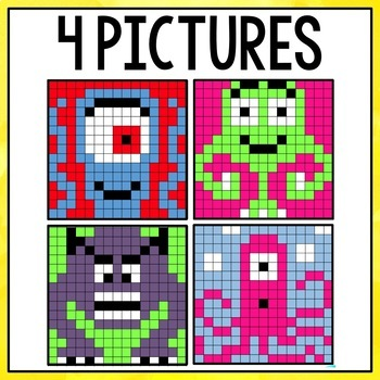 Mystery Pictures Monsters - Multiplication and Division Facts