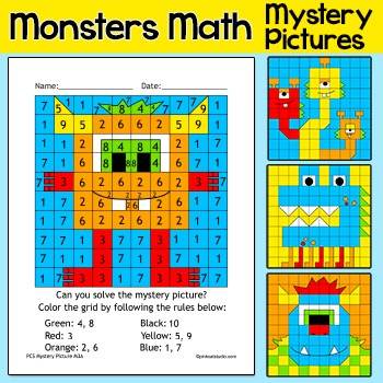 Color by Number Monsters Math Facts Morning Work Worksheets