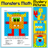 Color by Number Monsters Math Facts Morning Work Worksheets - Pixel Art