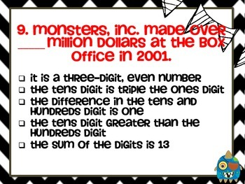 Monsters Mystery Numbers