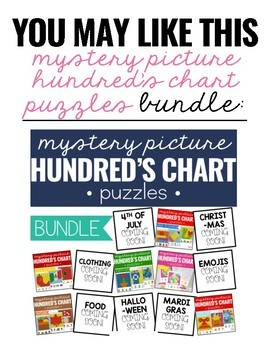 Monsters Mystery Picture Hundred's Chart Puzzles