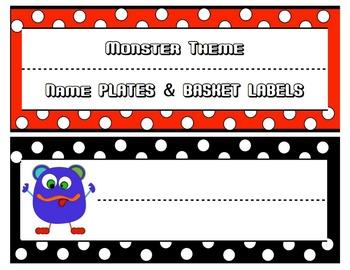 Monsters Name Plates & Basket Labels