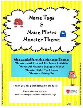 Monsters!  Name Tags and Name Plates